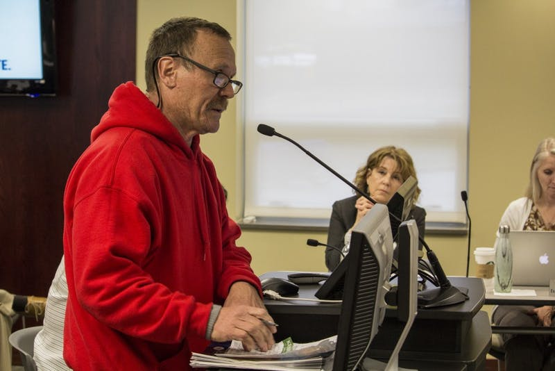 Bloomington resident Jim Billingsley speaks at Tuesday night's board meeting. Billingsley said he was concerned about schools who support student walkouts and the politicization of the recent mass shootings which have plagued the nation.