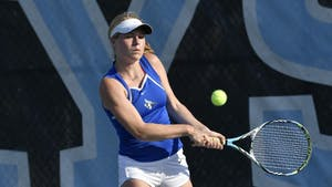 COURTESY OF HOPKINSSPORTS.COM Sophomore Sophia Strickland helps team shut out Gettysburg with impressive doubles performance.