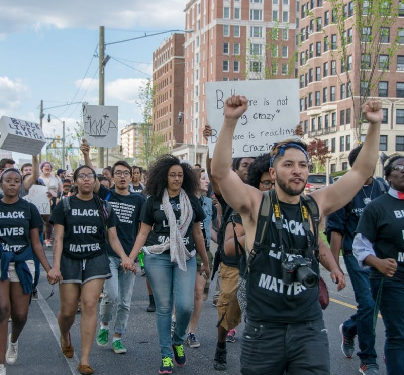 FILE PHOTO After the death of Freddie Gray, Hopkins students demonstrated in the Baltimore Uprising.
