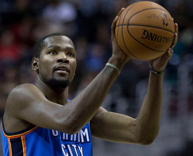 KEITH ALLISON/ CC BY-SA 2.0 Kevin Durant left Oklahoma for the Golden State Warriors last season.
