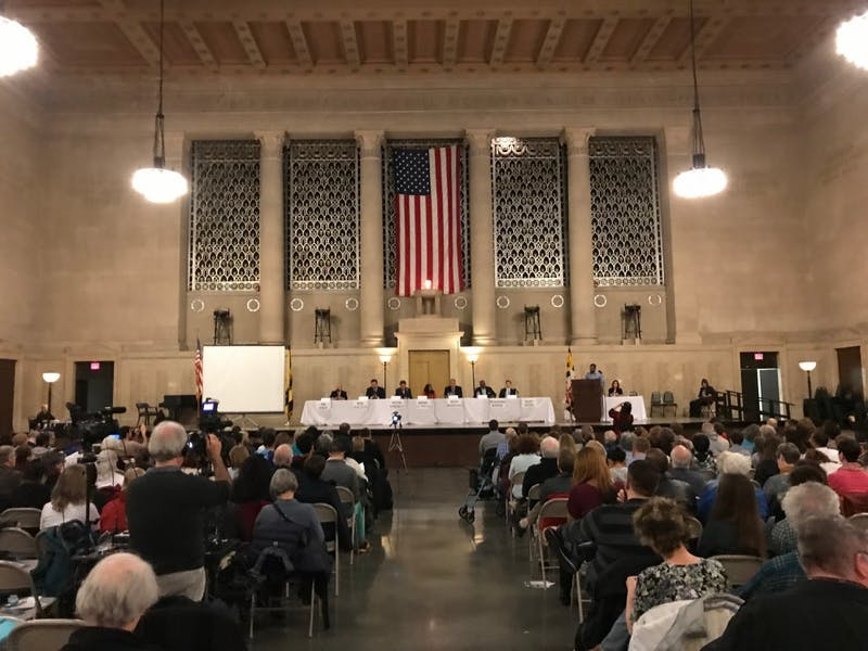 The candidates spoke at a forum in War Memorial Plaza on Saturday.