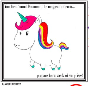 Diamond, the magical unicorn
