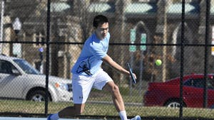 HOPKINSSPORTS.COM The men's tennis team beat out Haverford 5-4 Saturday.