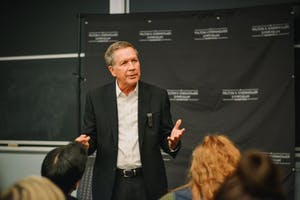 LAUREN QUESTELL/PHOTOGRAPHY EDITOR As part of the Milton S. Eisenhower Symposium (MSE) 2017 speaker series, Ohio Governor John Kasich spoke to students in Hodson on Monday, Nov. 13.