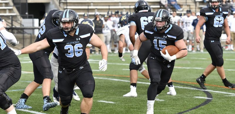 hopkinssports.com The Blue Jays racked up 627 offensive yards against Juniata on Saturday.