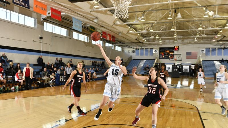 HOPKINSSPORTS.COM Junior guard Lillian Scott leads the Blue Jays with 19 points in the Conference semifinals.