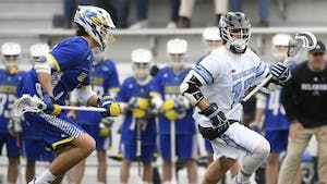 HOPKINSSPORTS.COM Kyle Marr scored the winning goal against Michigan with 31 seconds left.