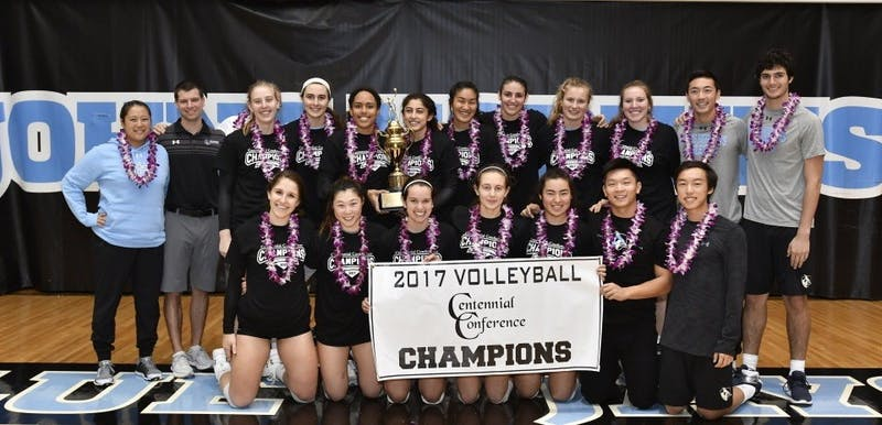 HOPKINSSPORTS.COM The Hopkins women's volleyball team won their second straight Centennial Conference Championship this past Sunday, both times against the Swarthmore College Garnet.