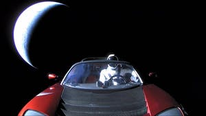 PUBLIC DOMAIN The Tesla Roadster was launched with a mannequin astronaut at the Kennedy Space Center this past month.