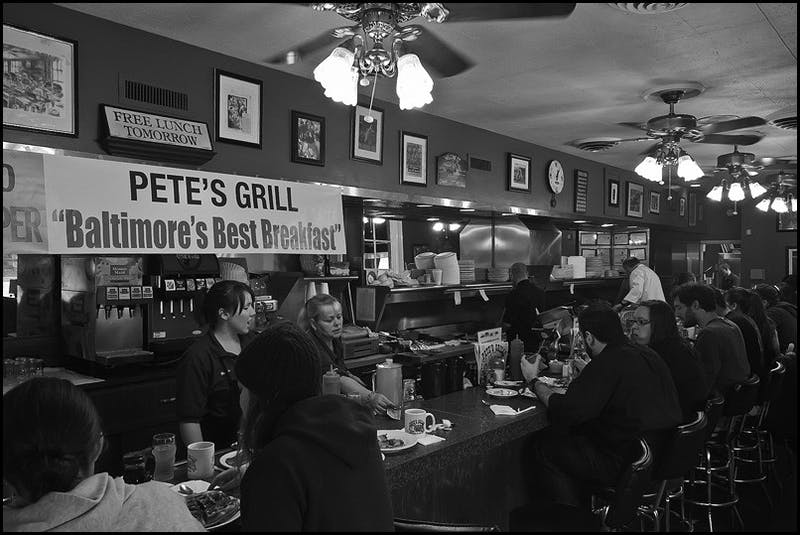 Pat Gavin cc-by-sa 2.0 Pete's bar-only seating arrangement affords a great opportunity to feel close to the Waverly community.