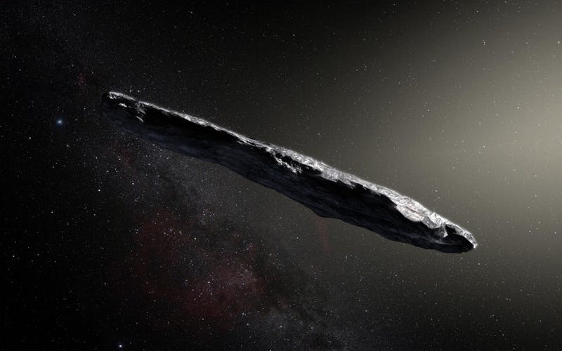 KORNMESSER/CC BY 4.0 'Oumuamua, a new-found asteroid, follows a hyperbolic trajectory around the sun, unusual for normal asteroids.