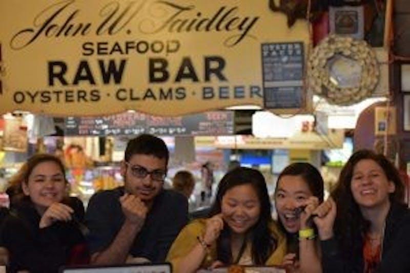 "Courtesy of Indu Radhakrishnan Faidley's, located in Lexington Market, is famous for its award-winning ""jumbo lump"" crab cakes."
