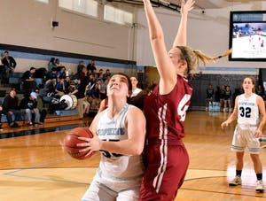 HOPKINSSPORTS.COM Junior Rory Cole finished with 18 rebounds and 15 points on the day against McDaniel.