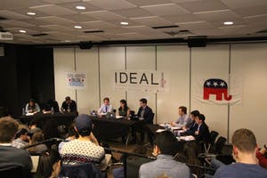 EDA INCEKARA/PHOTOGRAPHY STAFF Participants debated the Iran nuclear deal, Trump's travel ban and freedom of speech on campus.