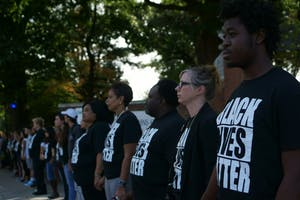 FILE PHOTO In 2016, Hopkins students and community members participated in a Black Lives Matter demonstration.