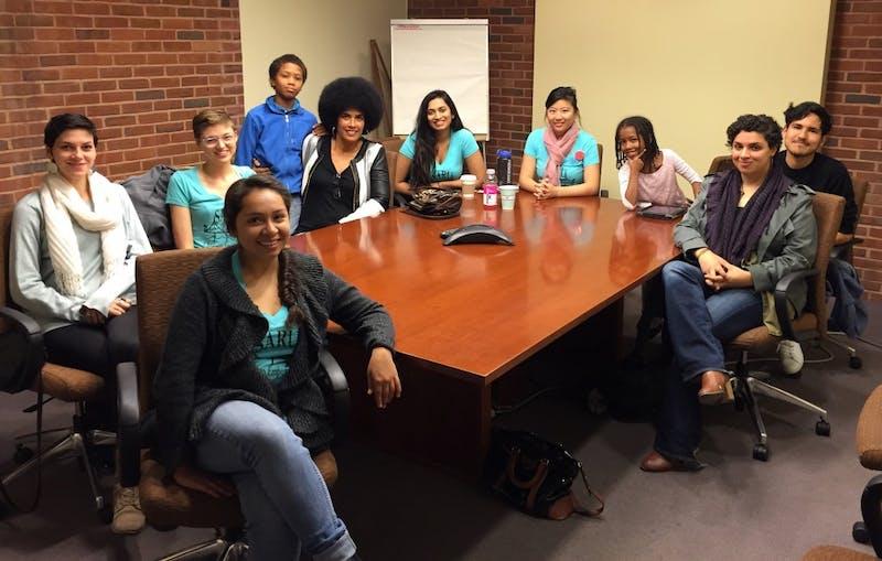 COURTESY OF LILI BERNARD Lili Bernard and SARU members met with Hopkins administrators in 2015.