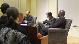 COURTESY OF GIULIANA LEOTTA Whittington and Davis shared their perspectives on free speech at a discussion on Tuesday.