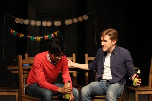 COURTESY OF JOHNS HOPKINS UNIVERSITY BARNSTORMERS Usman Enam (left) and Carver Bain (right) starred respectively in the play as Dev and Conrad.
