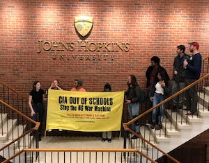 COURTESY OF SARAH Y. KIM  Youth Against War and Racism held a protest at Garland Hall on Tuesday.