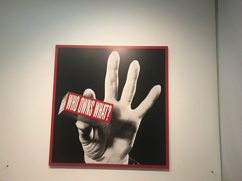 COURTESY OF TANYA WONGYIBULSIN Barbara Kruger's piece Who Owns What? is on display in the Tate's Media Matters exhibit.