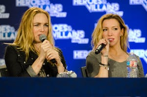 HEROES & VILLAINS/CC BY-SA 2.0 Caity Lotz (left) and Katie Cassidy starred on Arrow as sisters Sara and Laurel Lance, respectively.