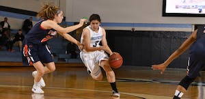 HOPKINSSPORTS.COM Junior guard Lexie Scholtz scored a game-high 26 points and 11 rebounds.