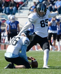 Hopkinssports.com Senior place kicker Jamie Sullivan tied a Hopkins record with four field goals.