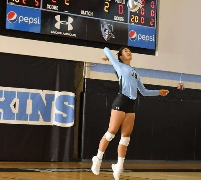 HOPKINSSPORTS.COM Wu broke the Hopkins program record for most aces in a single game.