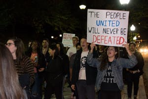 FILE PHOTO On Nov. 10, 2016, over 100 Hopkins students joined citywide protests against Trump.