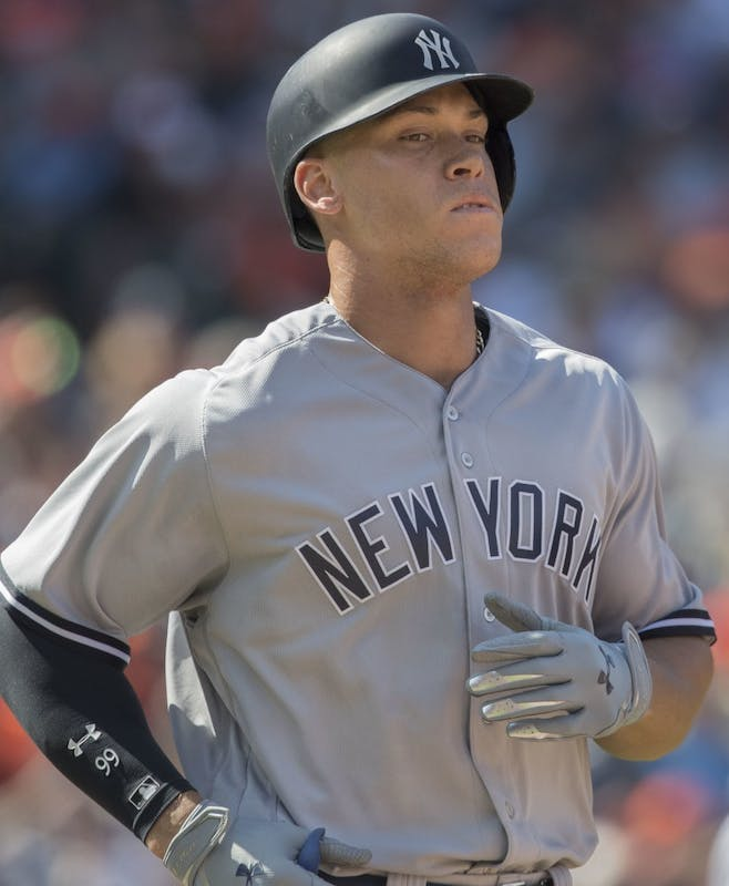 KEITH ALLISON/CC BY-SA 2.0 Aaron Judge set the rookie home run record last year, and now has Giancarlo Stanton to help him.