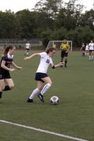 SMOOTH MOVES: Forward Samantha Schwartz '18 muscles past her helpless defender during Homecoming this past Saturday.
