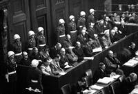 Nuremberg Trials. Looking down on defendants' dock, ca. 1945-46. (WWII War Crimes Records) Exact Date Shot Unknown NARA FILE #: 238-NT-592 WAR & CONFLICT BOOK #: 1296 WHAT JUSTICE LOOKS LIKE: The Nuremberg Trials of 1945 set a precedent for prosecuting war crimes, but progress since then has been slow.