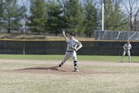 THROWING HEAT: Pitcher Brandon Musto '20 winds up for a throw in a game against Case Western Reserve on April 8.