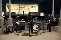 CHILL VIBES: Boston-based rock band, Motel Black, braved the cold to perform in front of the Rose Art Museum at SCRAM JAM.