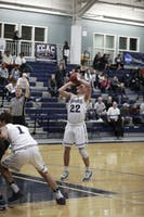LEADING THE PACK: Guard Eric D'Aguanno '20 sets up his free throw shot against Becker College at home on Nov. 18.