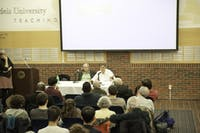 CLEAN ENERGY: Kerry Emanuel and Christoph Stefes spoke to an audience in Usdan's International Lounge last Monday.