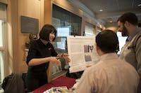 ENTREPRENEURS: Brandeis community members presented startups they helped create at Wednesday's showcase event.