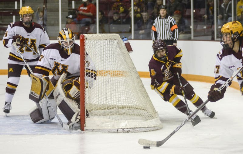 Redshirt junior goalkeeper Sidney Peters defends the goal from the Bulldogs on Feb. 4, 2017 at Ridder Arena.