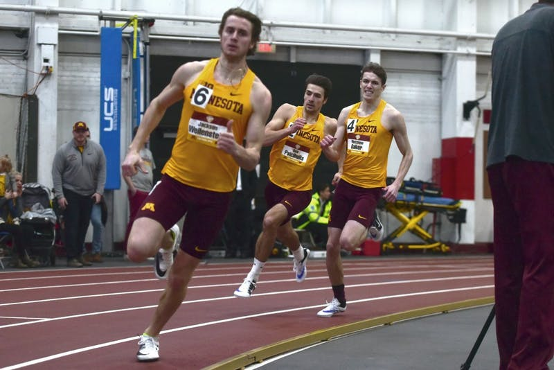 Gophers Jackson Wellenstein, Ben Psicihulis, and Matthew Baker compete in the 4x400-meter relay during the Border Battle on Jan. 13, 2018.