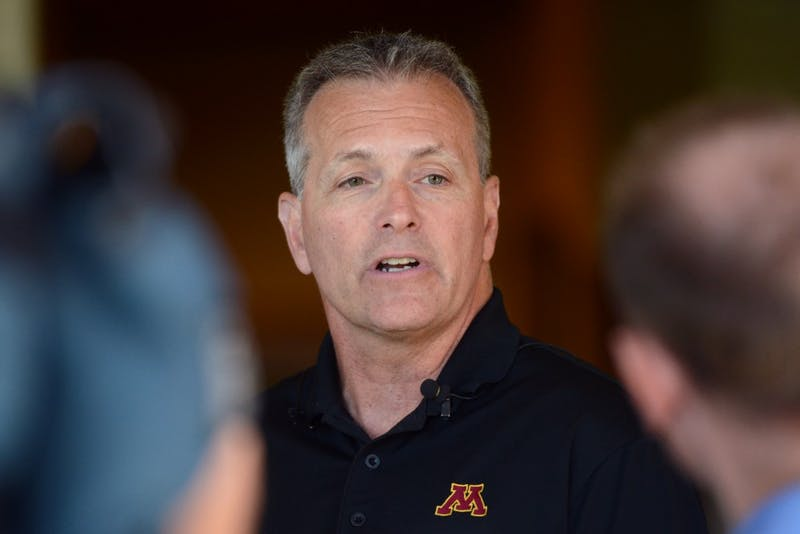 Head men's hockey coach Don Lucia fields questions from the press for the Gopher Road Trip: Chalk Talk at the Somerby Golf Club in Byron, Minnesota on June 8, 2016.