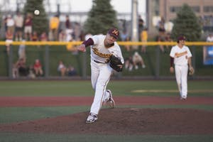 Reggie Meyer pitches to Canisius during the game on Friday, June 1, 2018 at Siebert Field. The Gophers beat Canisius 10-1.