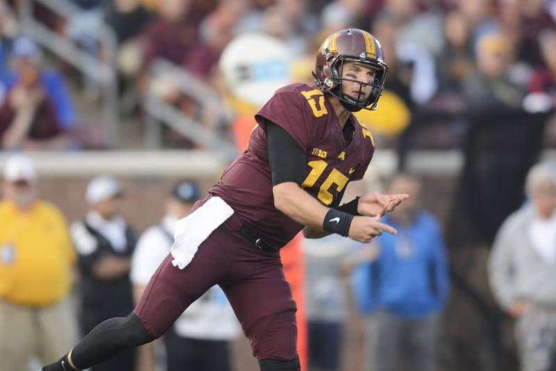 Conor Rhoda throws a pass on Thursday, Aug. 31 at TCF Bank Stadium. The Gophers beat Buffalo 17 to 7.