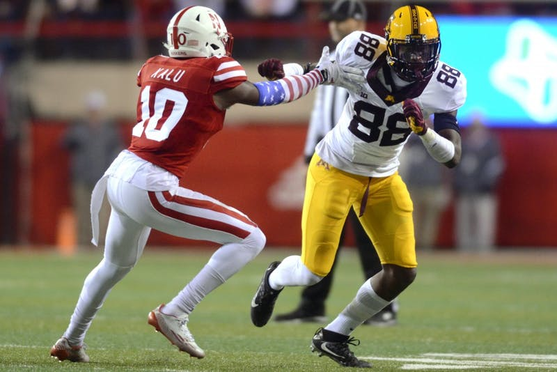 Gophers wide receiver Rashad Still rounds Cornhuskers cornerback Joshua Kalu at Memorial Stadium in Lincoln, Nebraska on Saturday, Nov. 12, 2016.