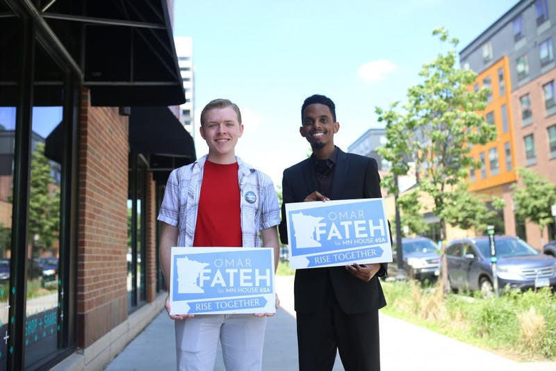 University student Austin Berger poses for a portrait with Omar Fateh, who is running for the Minnesota House of Representatives on Friday, June 1, 2018 in Dinkytown. Berger and other student staffers created a unionization campaign based on Rep. Erin Murphy's campaign for governor.