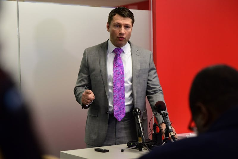 Attorney Ryan Pacyga speaks during a press conference held to discuss his new role as council for Gophers men's basketball player Reggie Lynch. Lynch has been accused of sexual misconduct and recommended for suspension and expulsion by the University of Minnesota.