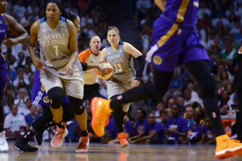 Lynx guard Lindsay Whalen dribbles the ball during the first game of the WNBA Finals at Williams Arena on Sunday, Sept. 24. The Lynx lost 85-84.