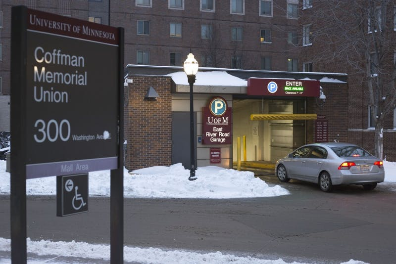 A car enters East River Road Garage on Wednesday, Jan. 24, 2018 on East Bank in Minneapolis. The Super Bowl will move most University contracted parking to East River Road Garage for the weekend of the event.