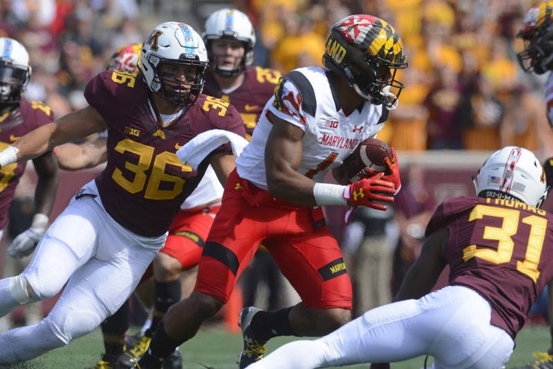 Junior linebacker Blake Cashman goes in to tackle Maryland wide receiver DJ Moore on Saturday, Sept. 30 at TCF Bank Stadium in Minneapolis.