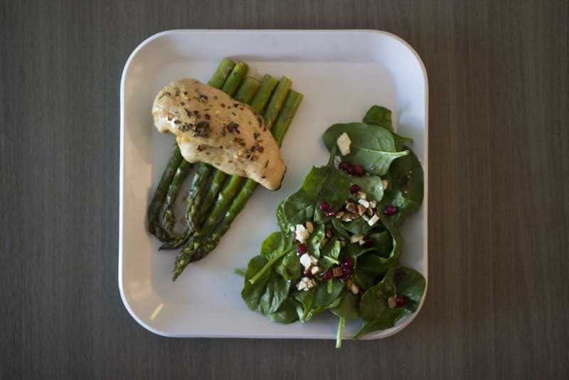 Honey-Lemon Chicken and Asparagus with a Pomegranate Side Salad.