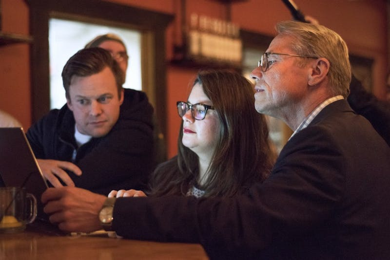 Raymond Dehn looks over election results during his Election Day party at Du Nord Craft Spirits on Nov. 7.